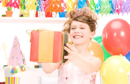 happy party girl with balloons and gift box Stock Photo - 7039590