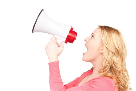 woman screaming: picture of woman with megaphone over white