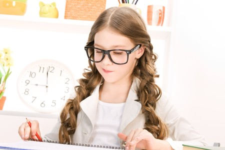 preteens girl: bright picture of learning elementary school student