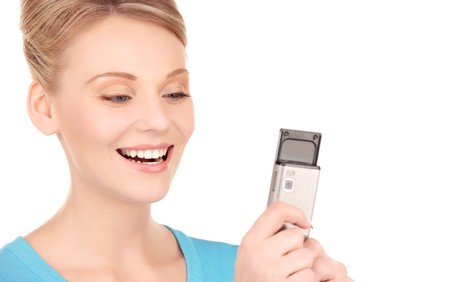 picture of happy woman with cell phone Stock Photo - 7070822