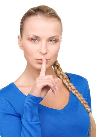 bright picture of teenage girl with finger on lips Stock Photo - 7070983