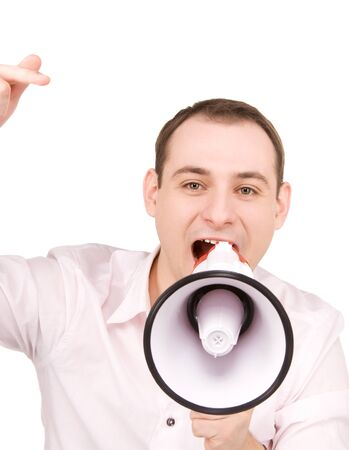 picture of businessman with megaphone over white photo