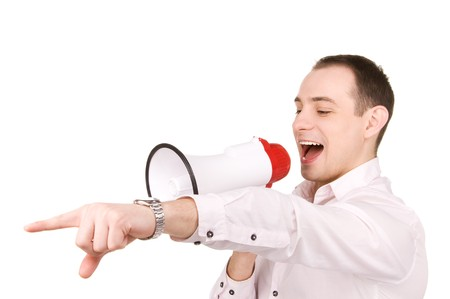 picture of businessman with megaphone over white Stock Photo - 7094485