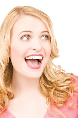 bright picture of surprised woman face over white photo