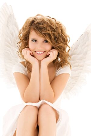 alluring women: picture of happy teenage angel girl over white