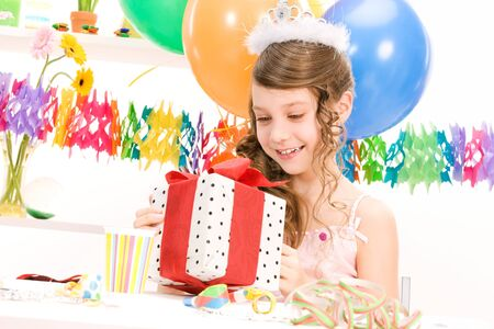 happy party girl with balloons and gift box Stock Photo - 7117286