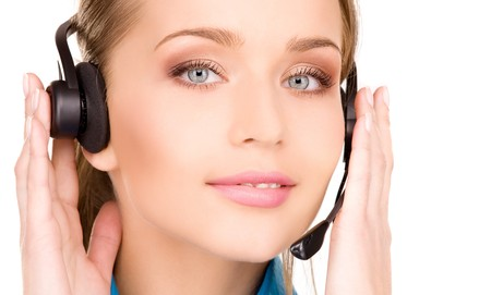 bright picture of friendly female helpline operator Stock Photo - 7117283