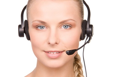 bright picture of friendly female helpline operator Stock Photo - 7149810