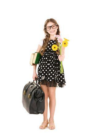 bright picture of elementary school student girl Stock Photo - 7149766