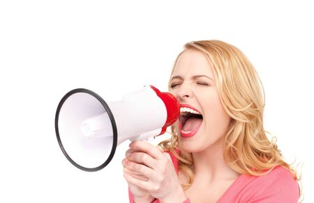 picture of woman with megaphone over white photo