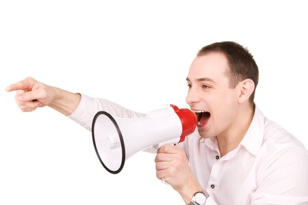 picture of businessman with megaphone over white Stock Photo - 7149761
