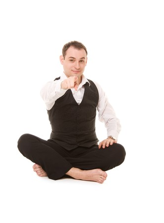 picture of businessman sitting in lotus pose photo