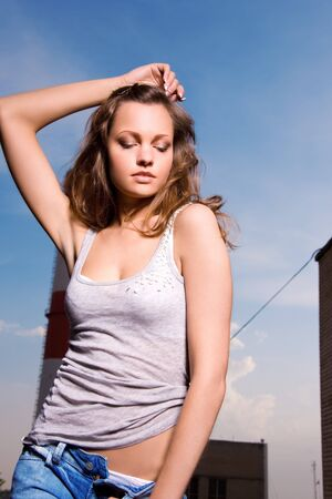 picture of young sexy woman in blue jeans Stock Photo - 7149889