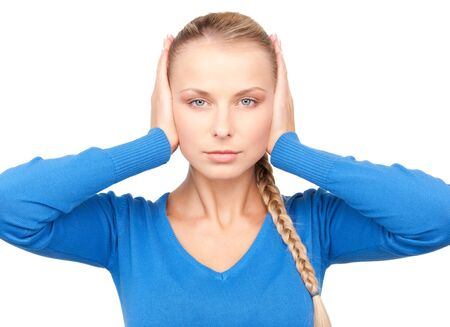 picture of woman with hands on ears Stock Photo - 7149873