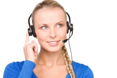 bright picture of friendly female helpline operator Stock Photo - 7149780
