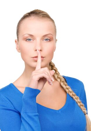bright picture of teenage girl with finger on lips Stock Photo - 7218773
