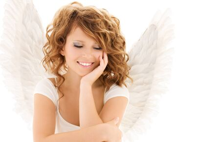 picture of happy teenage angel girl over white Stock Photo - 7218334