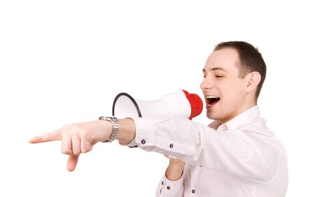 picture of businessman with megaphone over white Stock Photo - 7218283