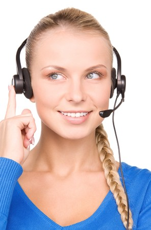 bright picture of friendly female helpline operator Stock Photo - 7215927