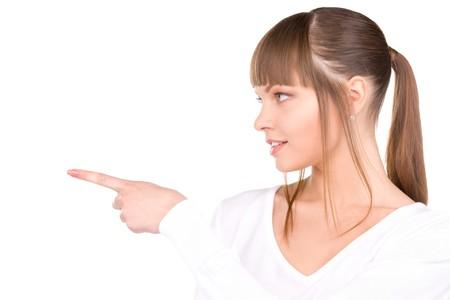dedo se�alando: Foto de atractiva empresaria apuntando con su dedo