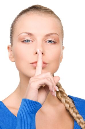 bright picture of teenage girl with finger on lips Stock Photo - 7279736