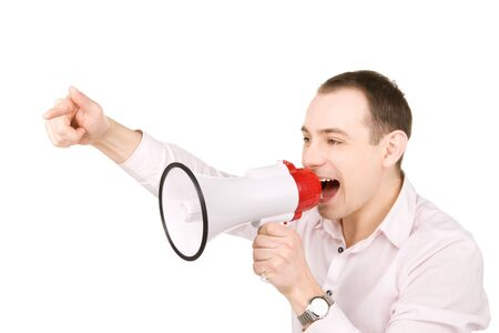 loudhailer: picture of businessman with megaphone over white