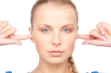 picture of woman with fingers in ears Stock Photo - 7279710