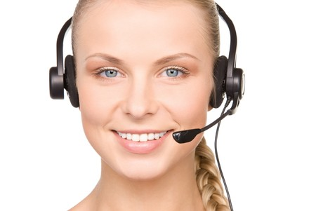 bright picture of friendly female helpline operator Stock Photo - 7279569