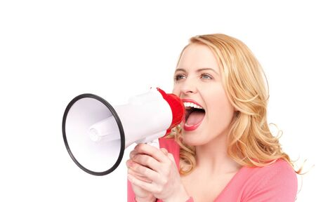 picture of woman with megaphone over white Stock Photo - 7279505