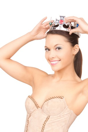 alluring women: picture of lovely woman in crown over white  Stock Photo