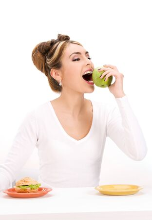 picture of woman with green apple and sandwich Stock Photo - 7279686