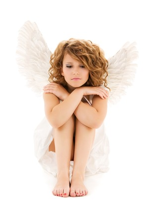 picture of unhappy teenage angel girl over white Stock Photo - 7279638