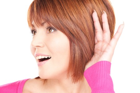 bright picture of lovely woman listening gossip photo