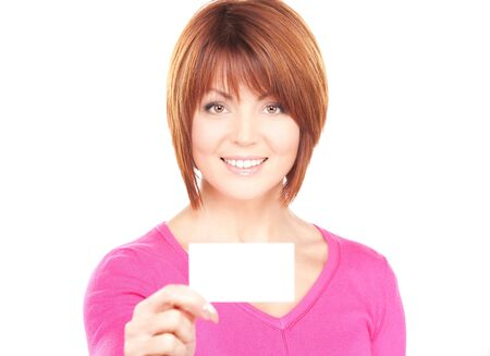 happy woman with business card over white  photo
