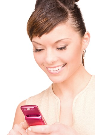 picture of happy woman with cell phone Stock Photo - 7279610