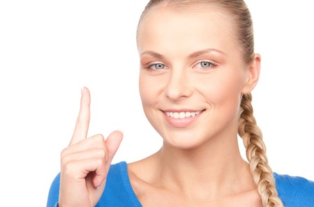 picture of attractive young woman with her finger up photo