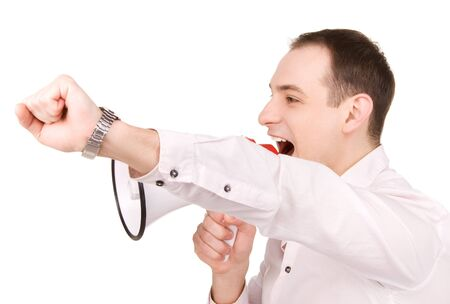 picture of businessman with megaphone over white Stock Photo - 7327793