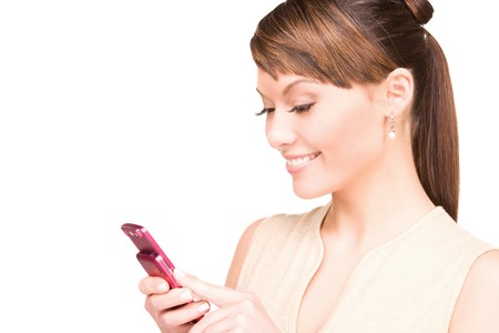 browse: picture of happy woman with cell phone