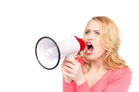 picture of woman with megaphone over white Stock Photo - 7326941