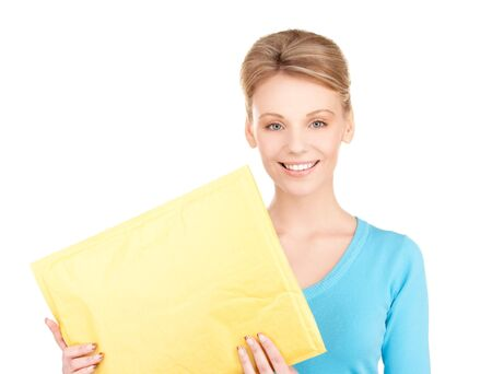 delivery package: picture of businesswoman with parcel over white