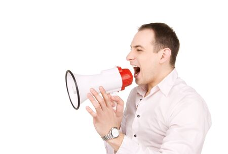 picture of businessman with megaphone over white Stock Photo - 7326937