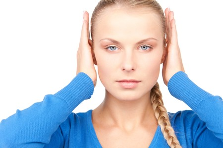 picture of woman with hands on ears photo