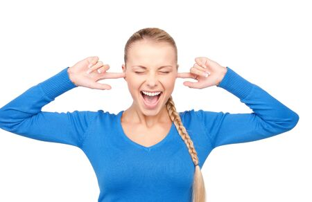 picture of smiling woman with fingers in ears photo
