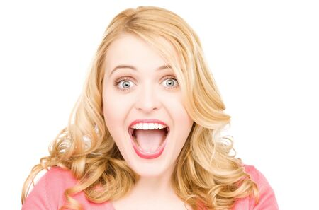 open girl: bright picture of surprised woman face over white
