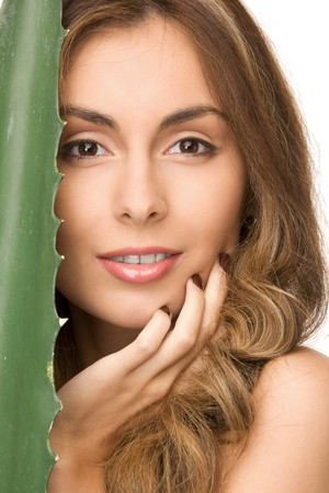 picture of lovely woman with aloe vera Stock Photo - 7347196