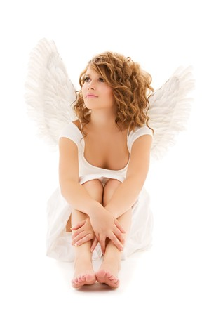 picture of unhappy teenage angel girl over white photo