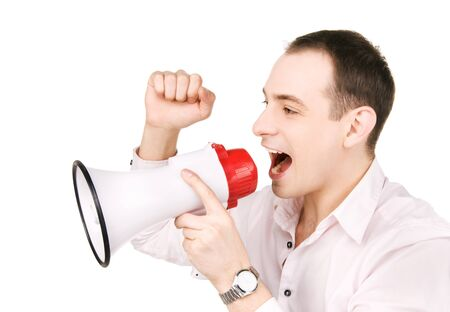 picture of businessman with megaphone over white Stock Photo - 7346830
