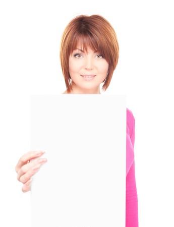 one sheet: donna felice con bordo bianco su bianco