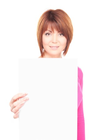 happy woman with blank board over white  photo
