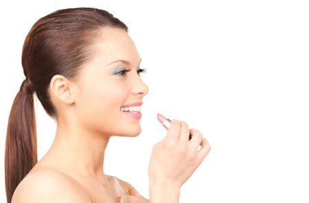 picture of lovely woman with lipstick over white Stock Photo - 7346930
